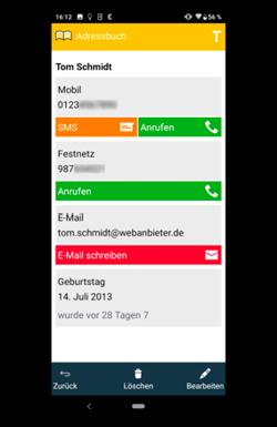 Kindersmartphone Kontakt anzeigen